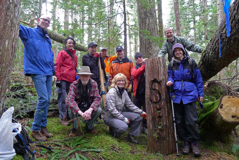 Happy faces before we knew how heavy the log was.